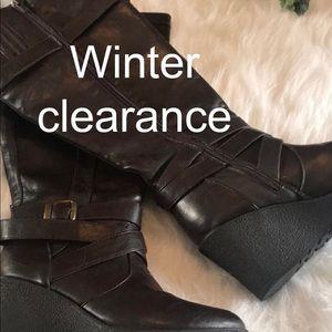 Brown Wedge Boots 8w | Poshmark